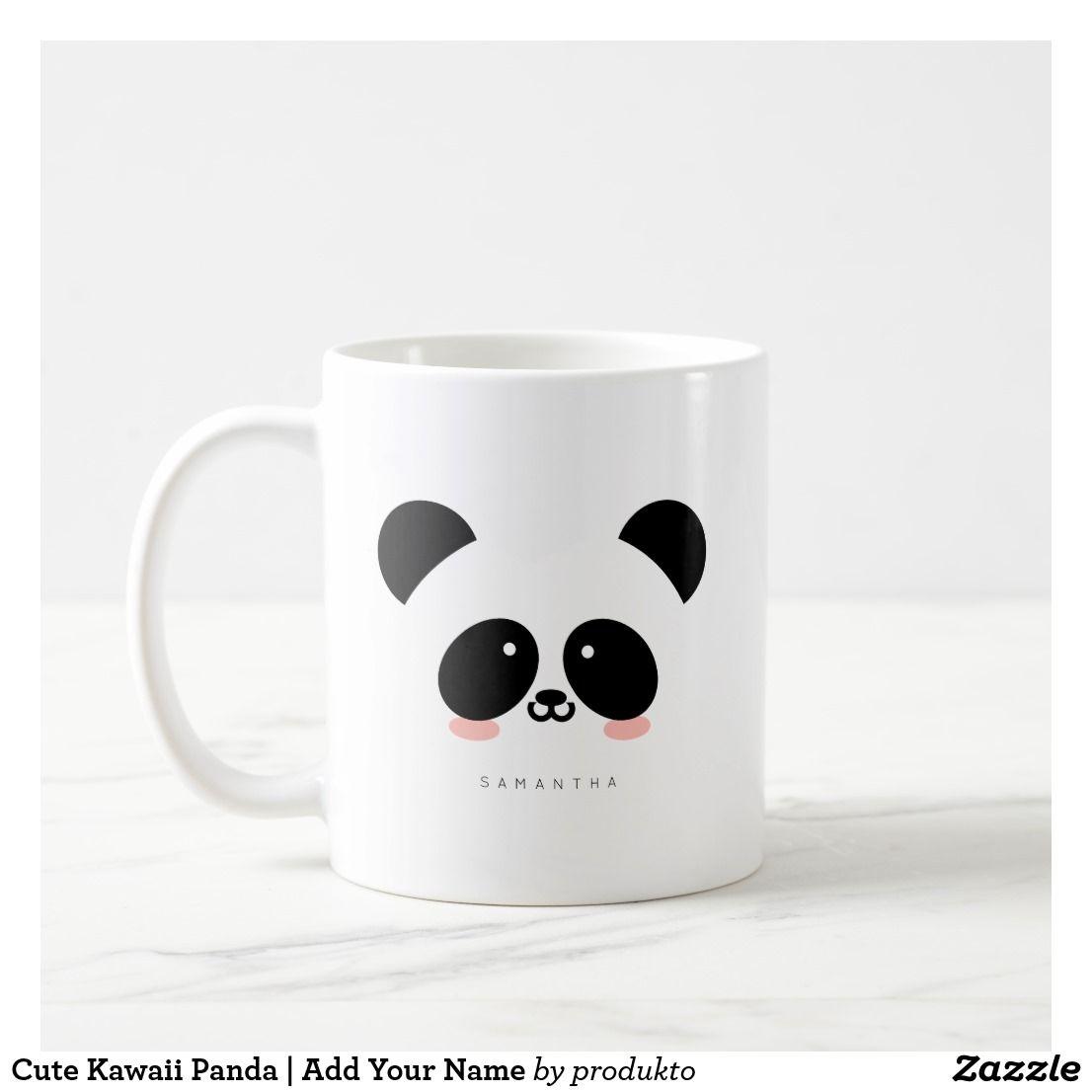Cute Kawaii Panda Add Your Name Coffee Mug