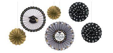 Congrats Graduation Paper Fan Decorations 6ct