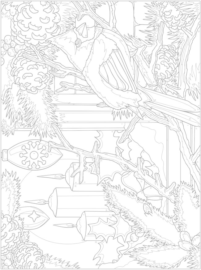 Cardinal Winter Scene From Creative Haven Christmas Color By Number Color Chart I Christmas Images To Color Dover Coloring Pages Christmas Coloring Pages