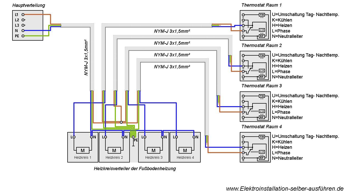 Schaltplan Eines Thermostats Für Eine Fußbodenheizung | Elektrische