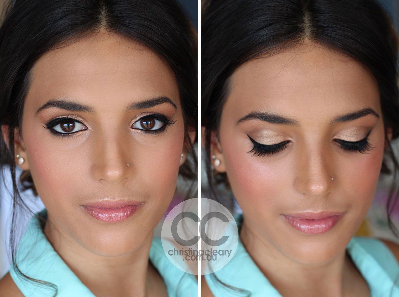 tanned skin, brown eyes, winged liner, winged eyeliner