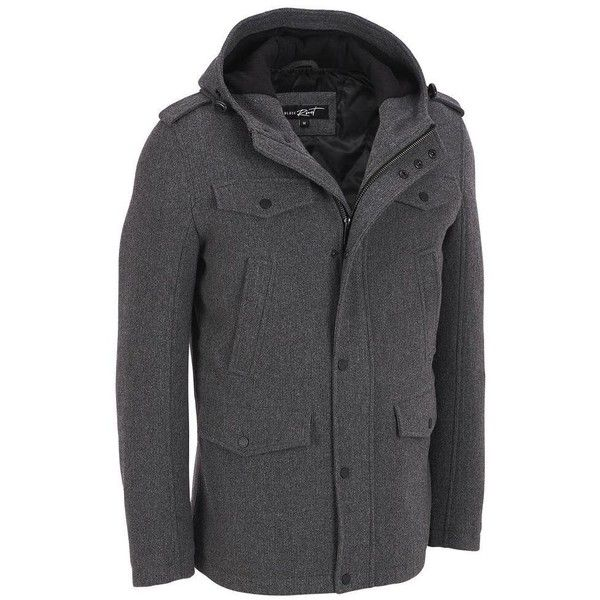 Black rivet hooded wool coat