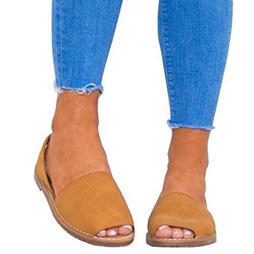 917a6996d00a70 Minetom Femme Poissons Bouche Sandales Plate Chaussures de Plage Été Mode  Élégant Romaines Daim Flip Flops