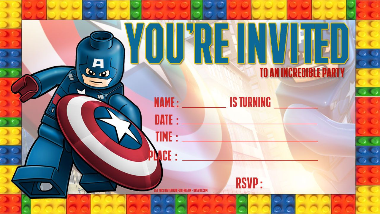 Free LEGO Captain America Birthday Invitation Template  Lego