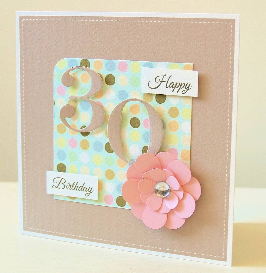 Handmade Age Birthday Card With Flower Birthday Cards For Women 30th Birthday Cards Birthday Cards Diy
