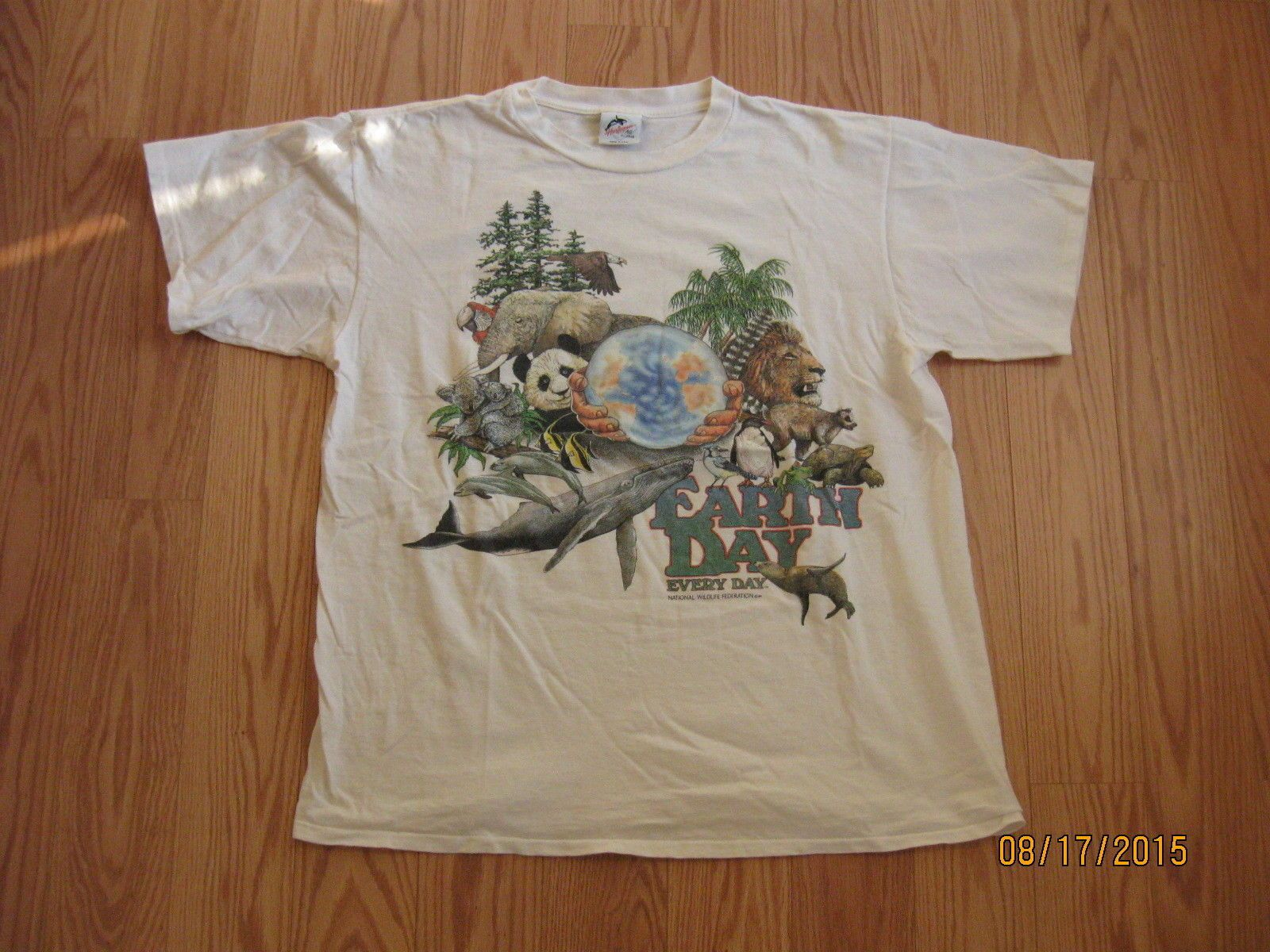 T shirt white ebay - National Wildlife Federation Earth Day Every Day 1989 Graphic T Shirt Xl Vintage Ebay