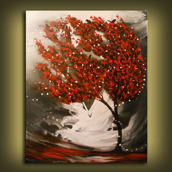 art peinture abstraite acrylique art rouge arbre noir et. Black Bedroom Furniture Sets. Home Design Ideas