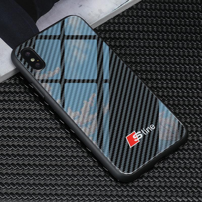 Tempered Glass Audi Sline Logo Phone Iphone X XR XS Max 7