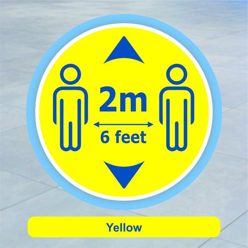 Floor Sign Stickers Social Distancing 2m Distance Signs Etsy Floor Stickers Floor Decal Floor Graphics