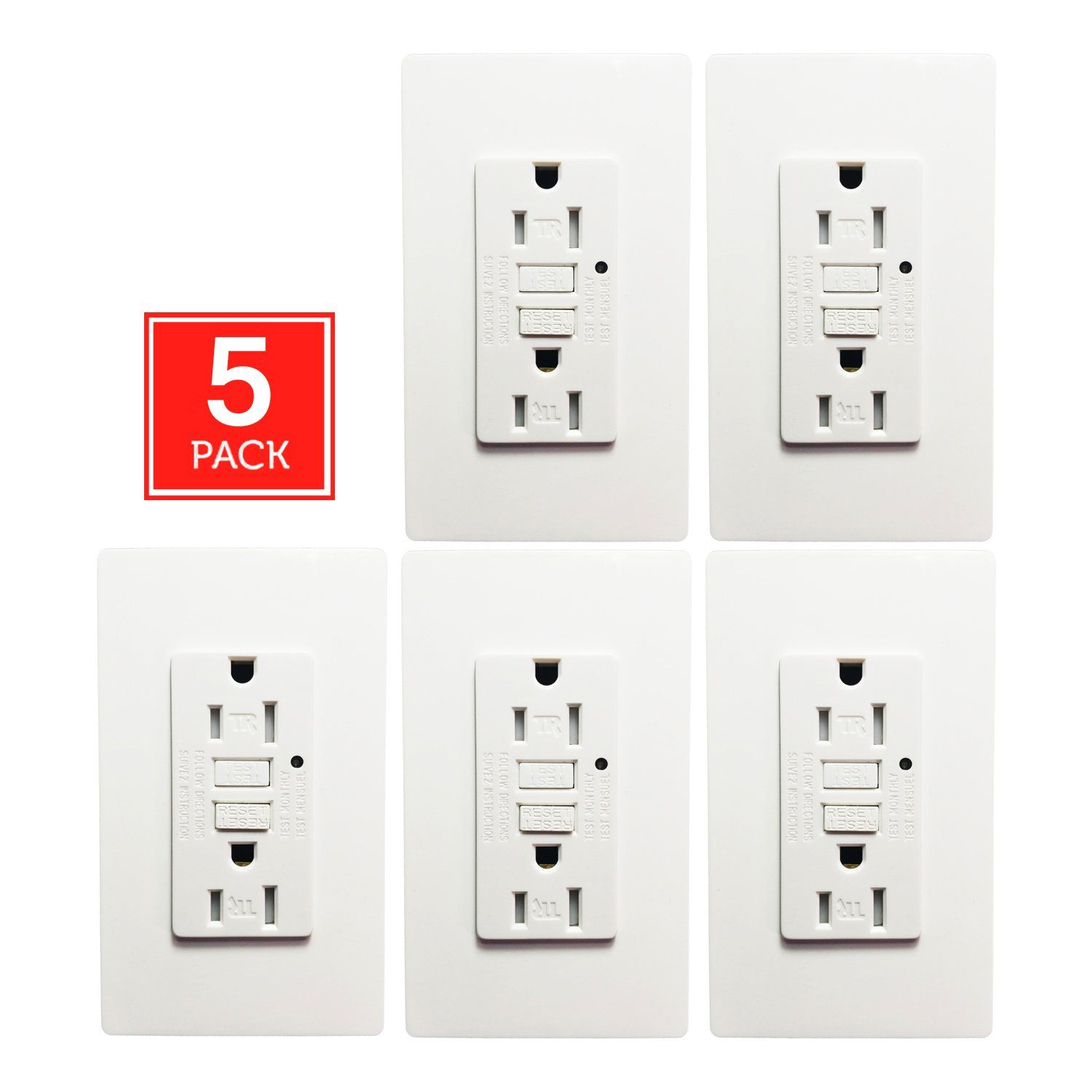 Gfci Wall Outlet Seckatech 15 Amp 125 Volt Tamper Resistant Repair Electrical Receptacle With Indicator Light
