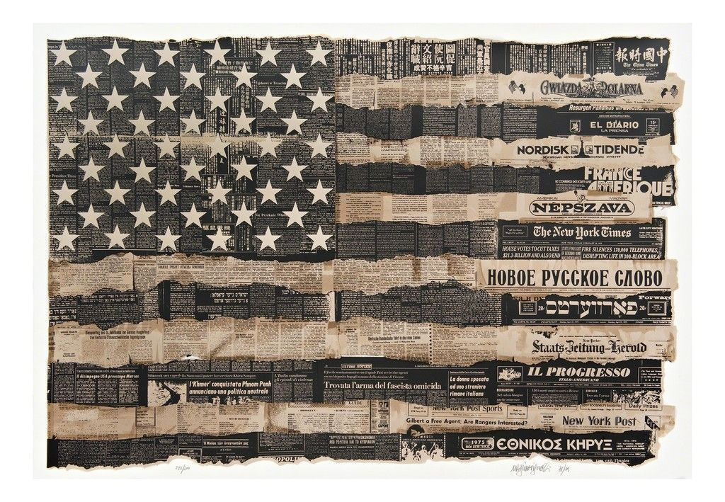 Massimo Vignelli | America the Melting Pot 1976 (United States is the Melting Pot, or Melting Pot, American Flag) - This silkscreen is a design masterpiece; political art (1989 #themeltingpot Massimo Vignelli, America the Melting Pot 1976 (United States is the Melting Pot, or Melting Pot, American Flag), 1989  Screenprint on acid-free archival paper with deckled bottom edge. Signed. Numbered. Dated. Unframed. Mint condition.  35 × 50 in; 88.9 × 127 cm #themeltingpot