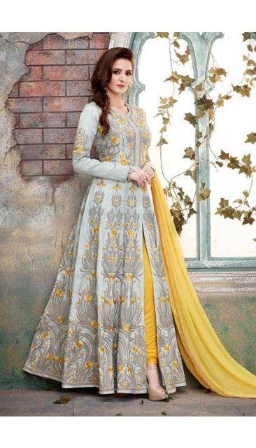 b23ed694725 Andaaz Fashion - New Arrival Grey Art Silk Anarkali Churidar Suit With  Dupatta - DMV14926