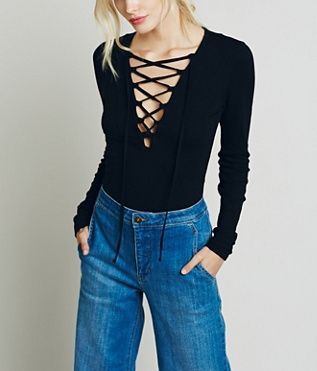 We absolutely love this Free People Lucky lace up top on ShopStyle!