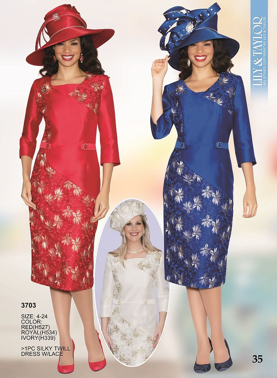 Lily And Taylor 3703 Womens Church Suit With Lace 1 Tricolor