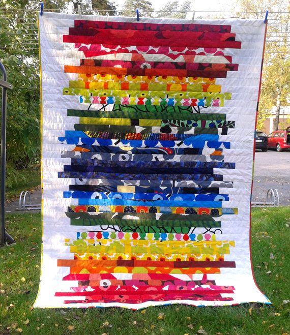 stunning quilt made of striking marimekko fabrics bright and colorful fabrics with modern prints blend