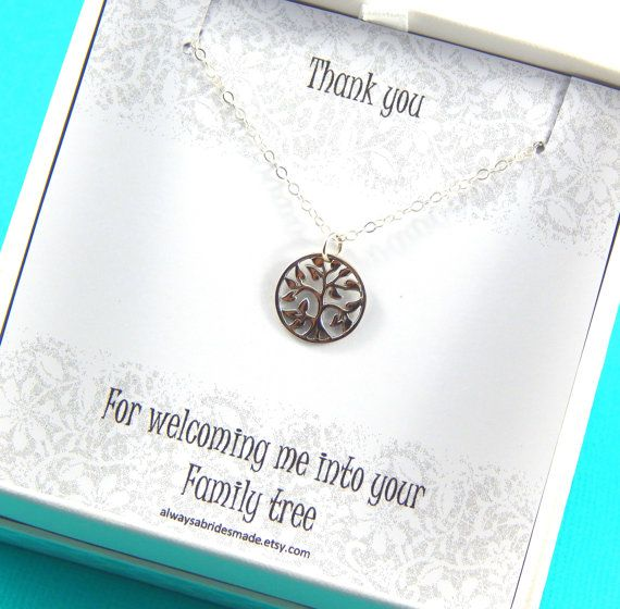 Mother of The Groom Mother Of The Bride Gift, Mother in Law Necklace, Family Tree Sterling Silver Necklace, Gift Boxed Jewelry  This necklace arrives beautifully gift boxed in white accented by white organza ribbon, with the card insert pictured.  A beautiful way to welcome your new mother in law in to your life.  A shimmering sterling silver chain supports a simple sterling silver tree disc measuring 14mm. You may select either a 42cm ( 16 1/2) or 46cm ( 18) chain from the drop down menu…