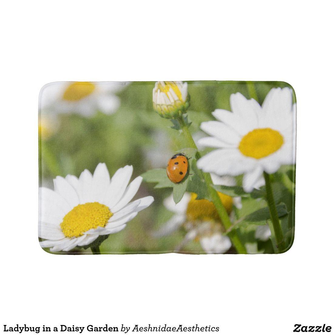 Ladybug In A Daisy Garden Bathroom Mat Best Bath Mat Ladybug