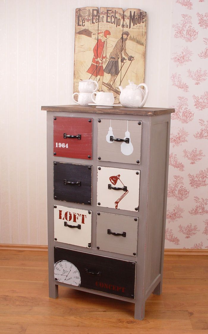 vintage schrank kommode loft stil shabby chic optik industrial m bler shabby chic loft und. Black Bedroom Furniture Sets. Home Design Ideas