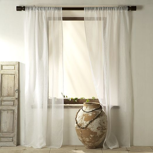 And Sheer Linen Curtains For The Windows Behind The Couch Sheer