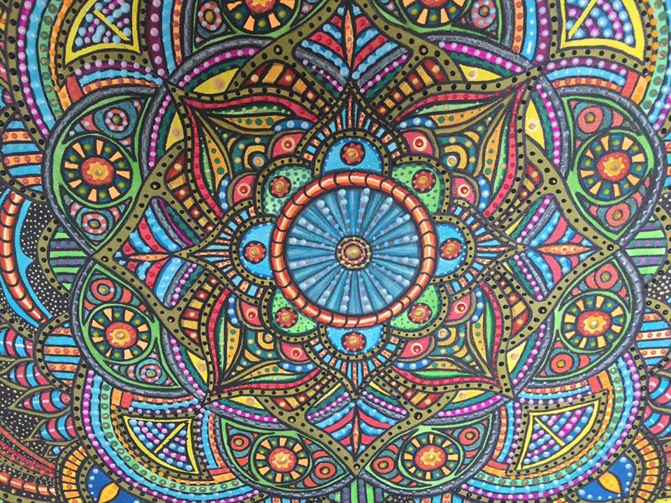 Mandala xl, Acry, Leinwand, Zentangle, 3d, rot, grün, orange, blau ...