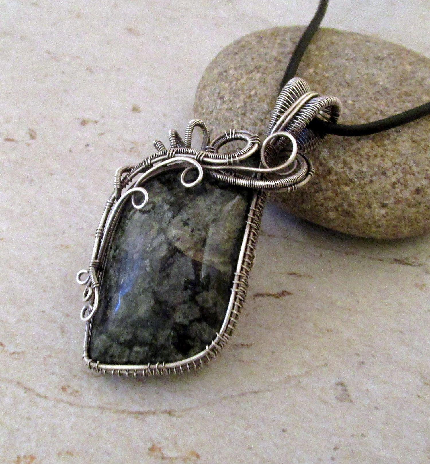 Sterling Silver Wire Wrap Pendant Necklace, Indigo Gabbro Wire ...