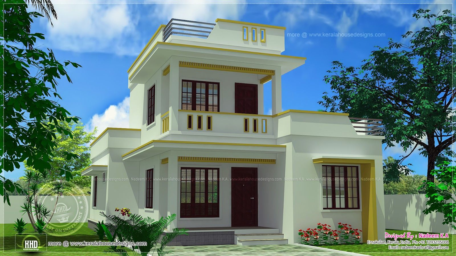 Roof home design feet kerala plans simple modern house for Minimalist house kerala