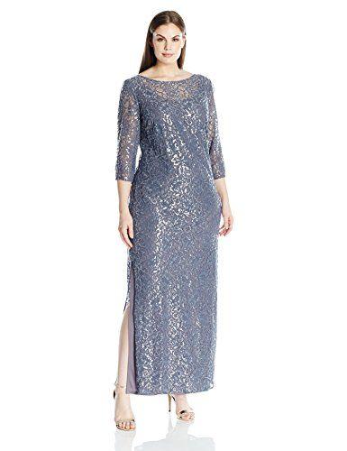 3229f29b312 Alex Evenings Women s Plus Size Lace Illusion Column Dress