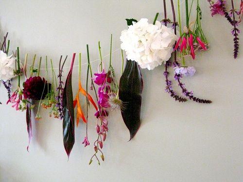 DIY flower garland from cuttings