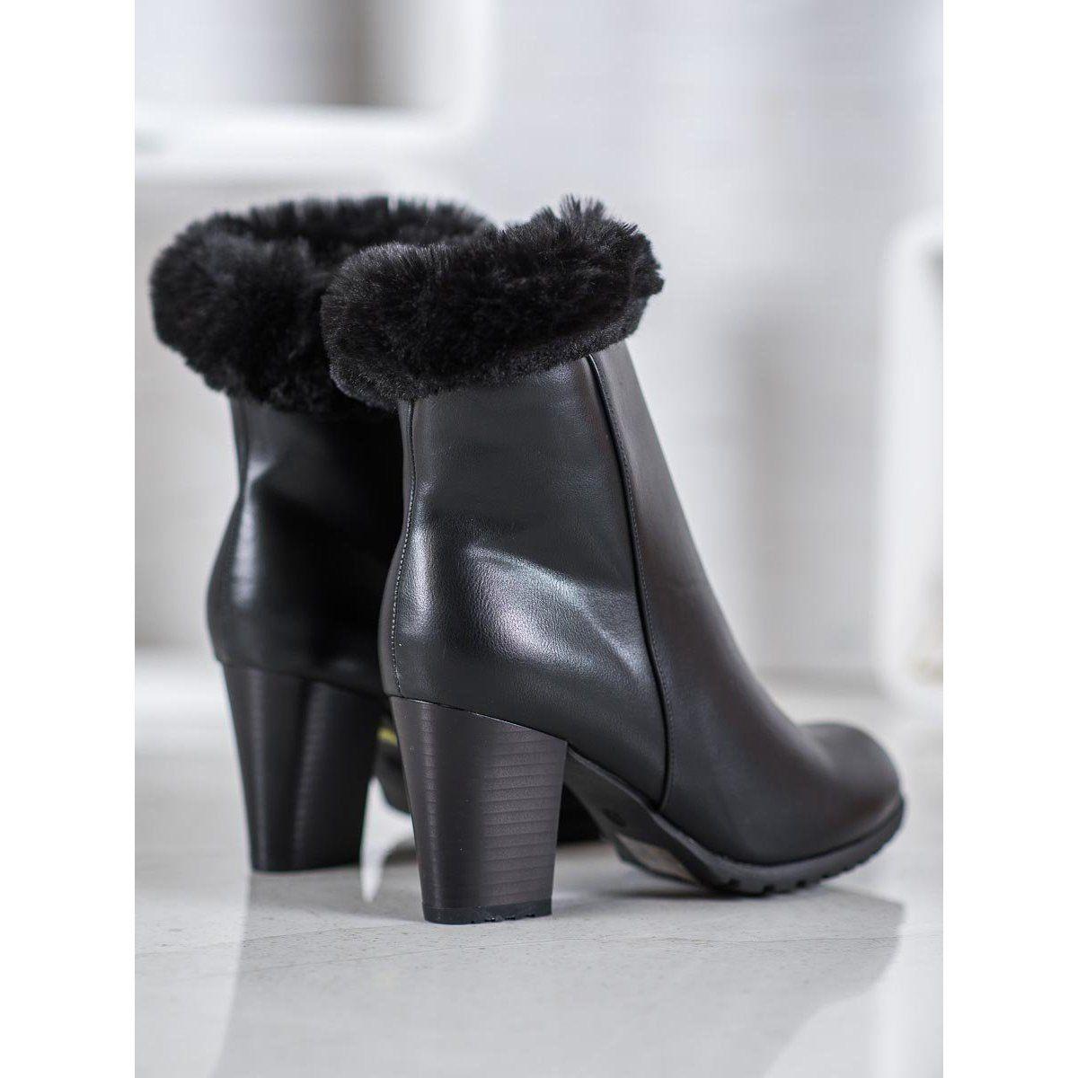 Goodin Botki Na Slupku Z Futerkiem Czarne Ankle Boot Shoes Fashion