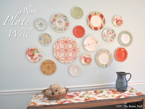 Plastic plate wall! I'm always seeing pretty plastic dishes....now I have a reason to buy them!