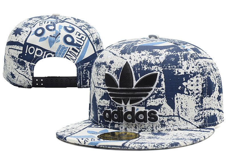 Men's Adidas Original Trefoil 3D Logo Embroidery Graffiti Snapback Hat - Denim Blue