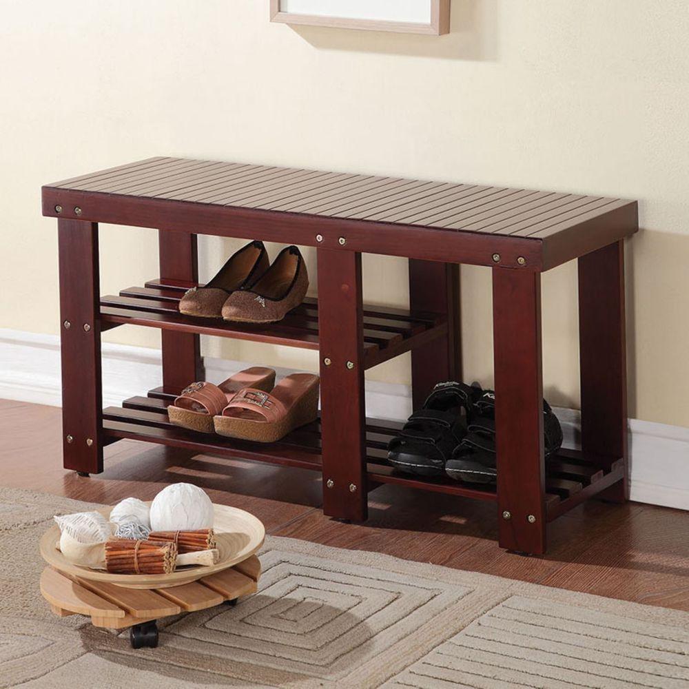 Dark Walnut Shoe Storage Bench Rack Living Room Hallway Furniture