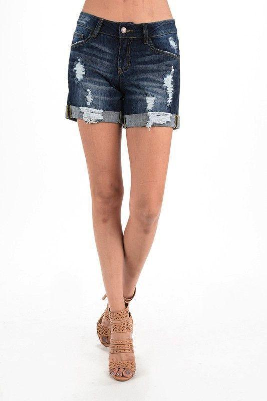 Dark Wash Destroyed Cuffed Denim Jean Shorts - SM(2/4)-3X(22/24)