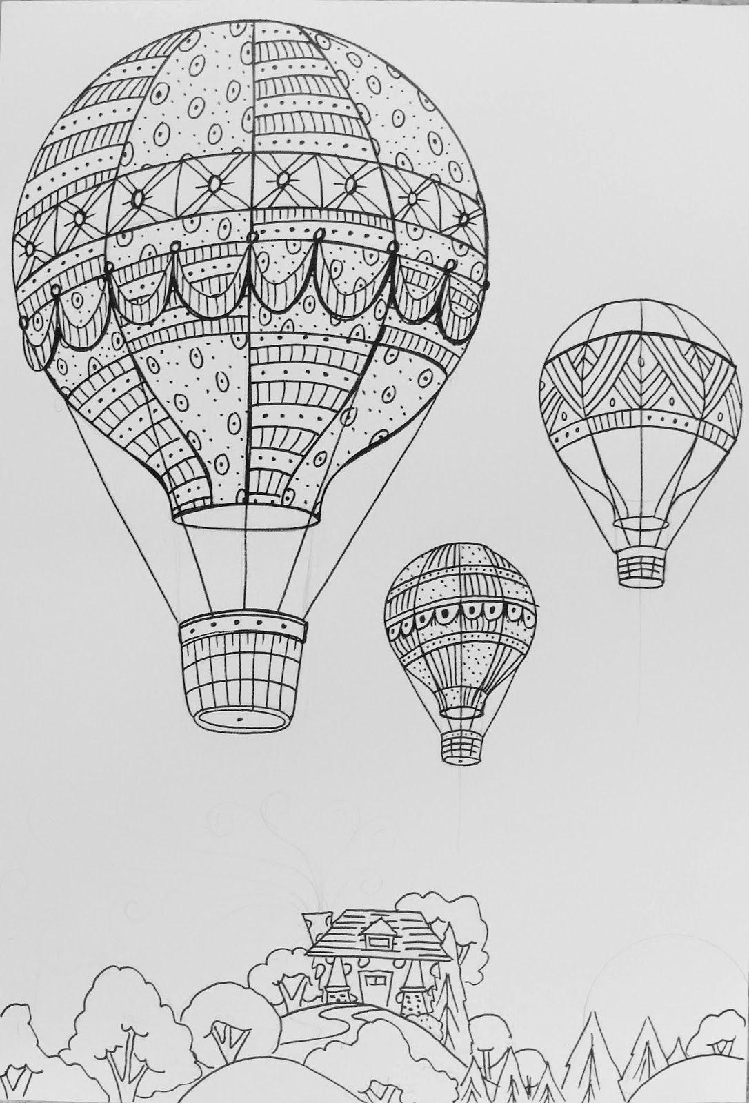 How To Draw A Hot Air Balloon Step By Luchtballon Tattoo Luchtballon Mandala Kleurplaten