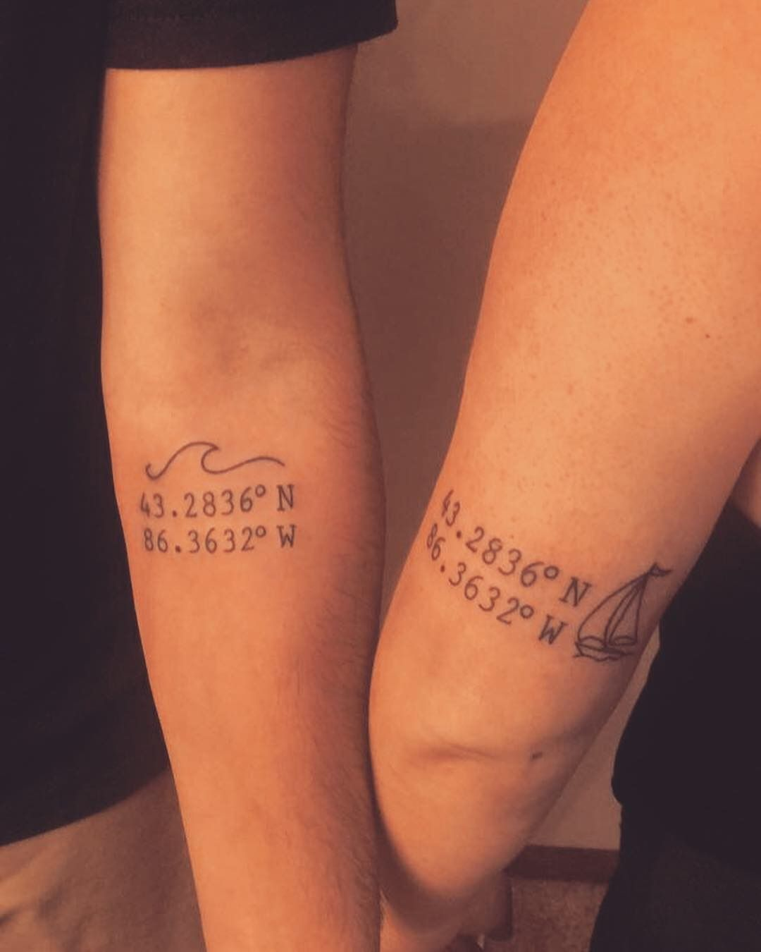 Brother and sister tattoo. Coordinates to childhood camp grounding Lake Michigan  ❤️ #tattoocoordinates