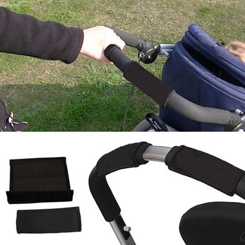 2 teile/los Neopren Kinderwagen Grip Cover Skid Widerstand Rollstühle Poussette Griff Schutzfolie Black Farbe