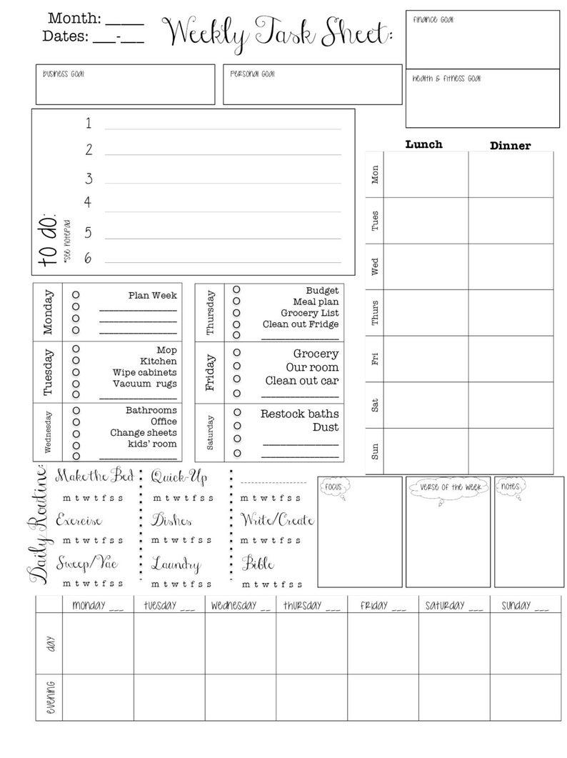 Printable PlannerEditable Planner; Week at a Glance