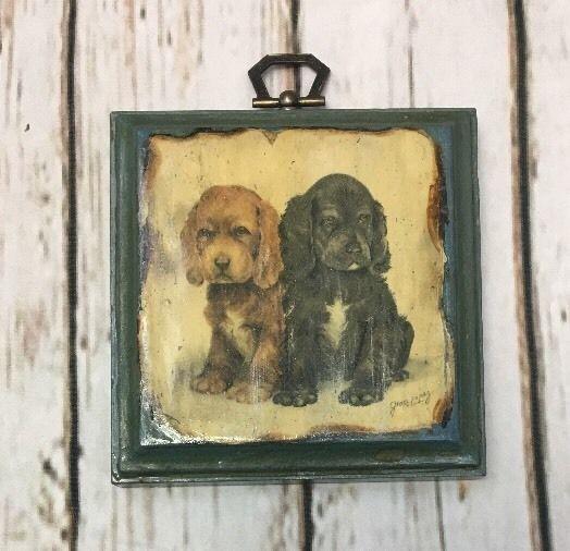 Vintage Spaniel Puppy Dog Wooden Art Plaque Grace Lopez Small ...