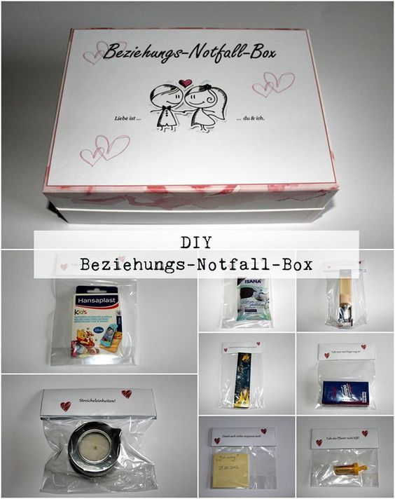 diy beziehungsnotfallbox do it your self pinterest geschenke jahrestag geschenk f r ihn. Black Bedroom Furniture Sets. Home Design Ideas