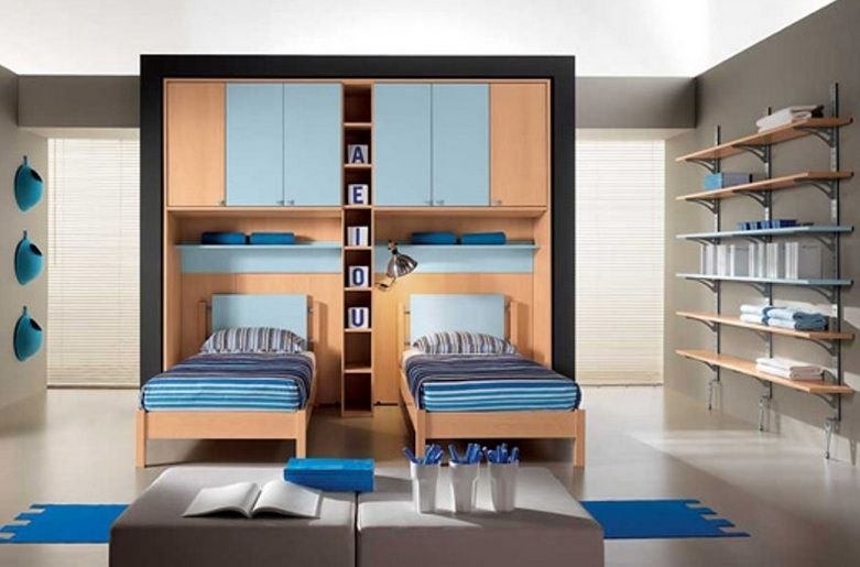 Double Bed Kids Bedroom Ideas With Open Shelves