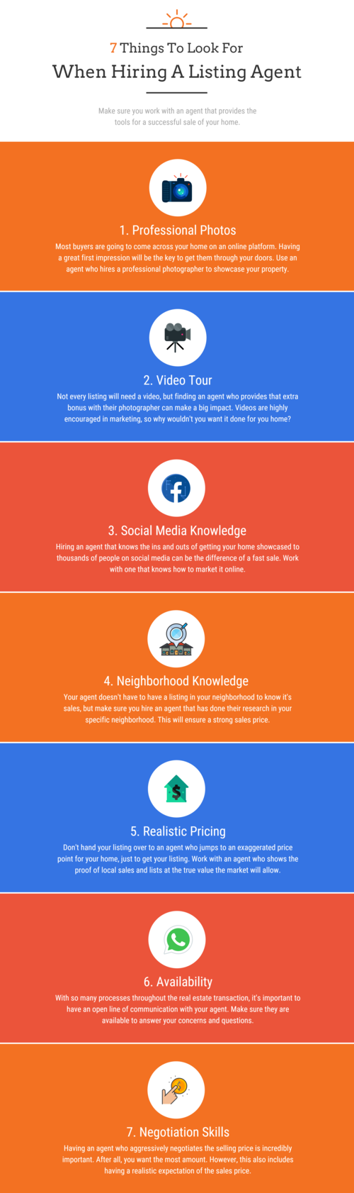7 Things To Look For When Hiring A Listing Agent Employee Onboarding Visual Content Marketing Infographic
