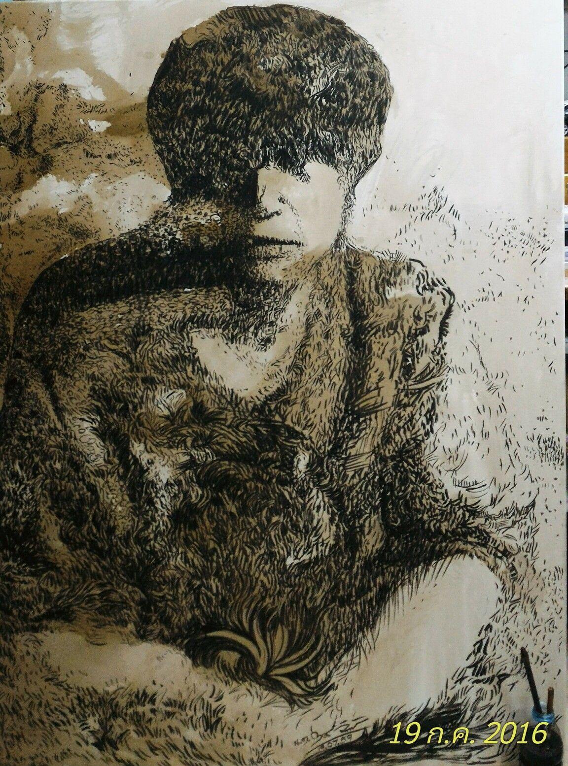 ห้วงคำนึง No.6 พู่กัน/หมึกจีนบนผ้าใบ ขนาด 60 x 120 cm.