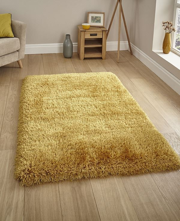 Get Cosy With The Montana Mustard Yellow Shaggy Rug Super Soft