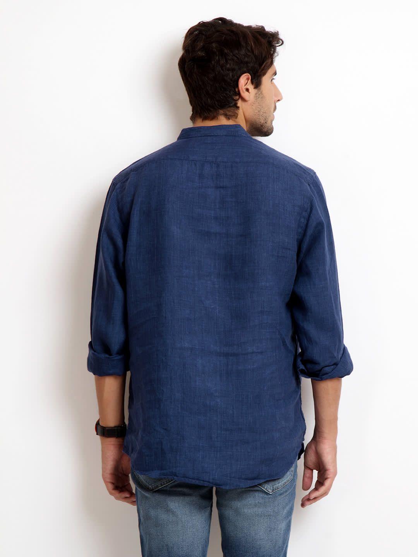 1d4b70cae02 Buy Indian Terrain Men Blue Slim Fit Linen Casual Shirt - Shirts for Men  181591