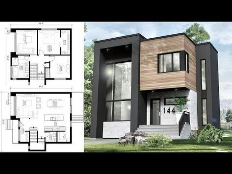 This Small Modern House 30x31 Has 3 Bedrooms With Its Two Storey Living Room The Plan Will Small Modern Home House Designs Exterior Modern House Floor Plans