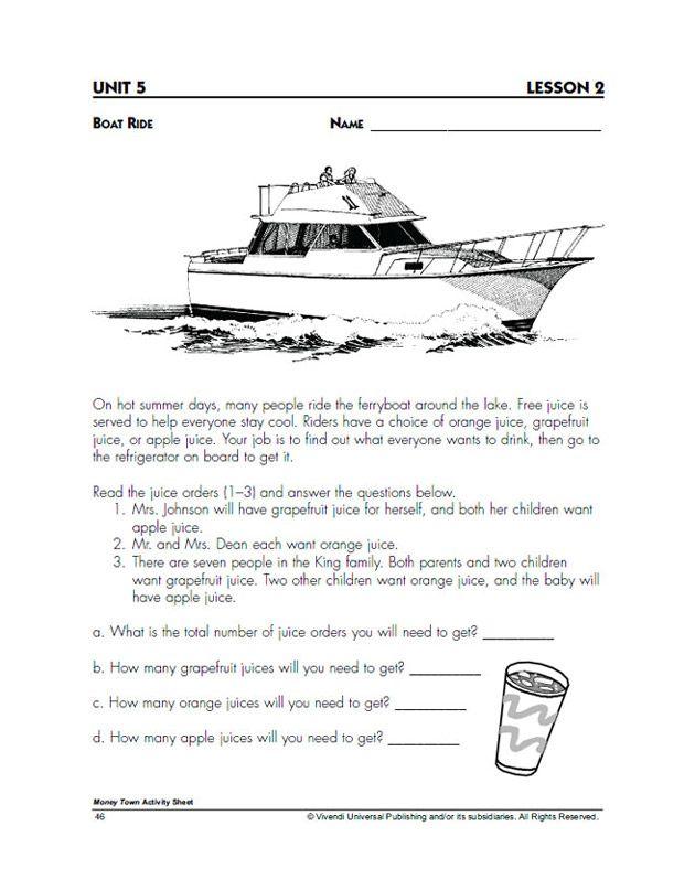 Boat Ride Download Print Worksheet Algebra Problems Math Word Problems Math