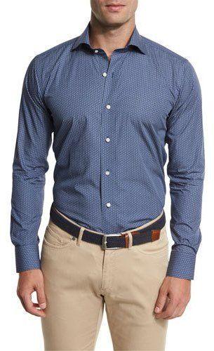 Peter Millar Kochosen Printed Sport Shirt, Blue