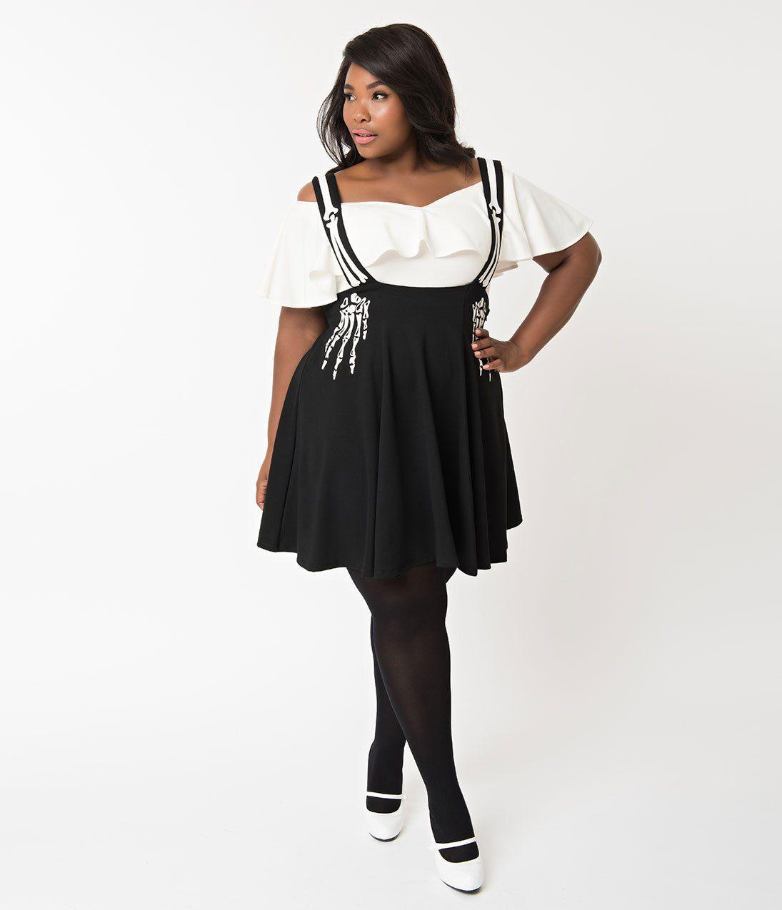 Unique Vintage Plus Size Black Skeleton Stockard Suspender Skirt Plus Size Plus Size Skeleton Costume Plus Size Outfits