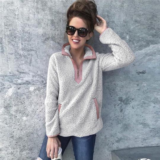Womens Winter Warm Fluffy Fur Long Sleeve Sweater Ladies Tops Jumper Pullover
