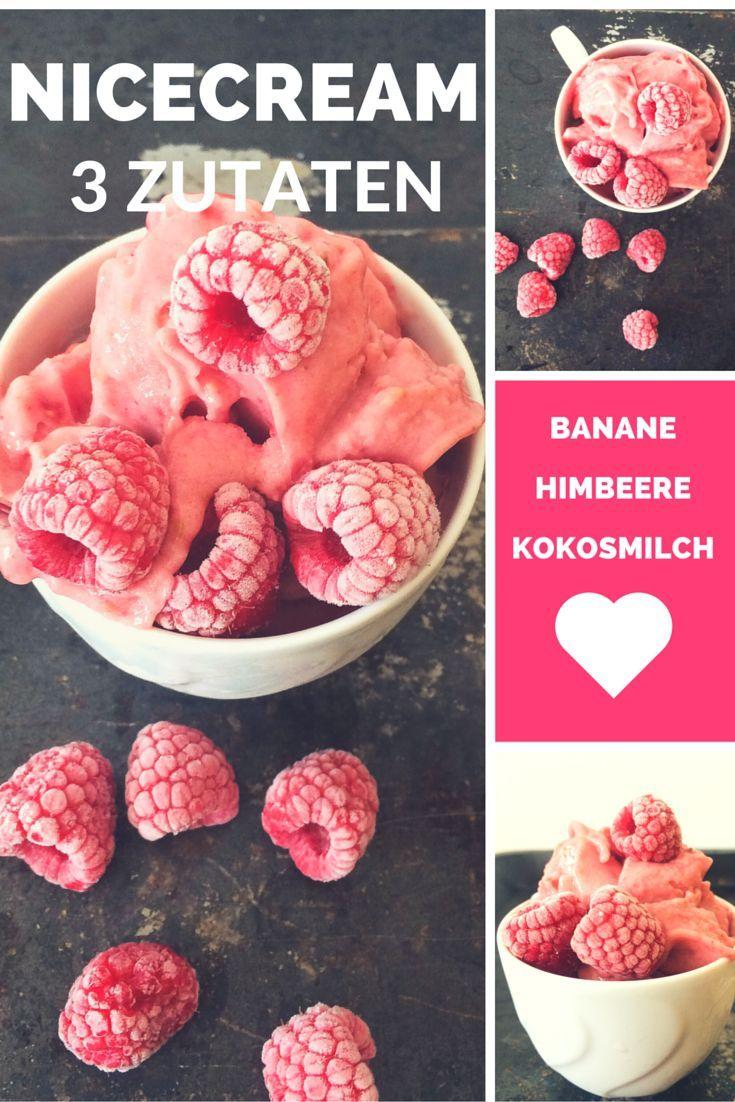 Himbeer Nicecream - vegan - FoodForFamily #sugarfree